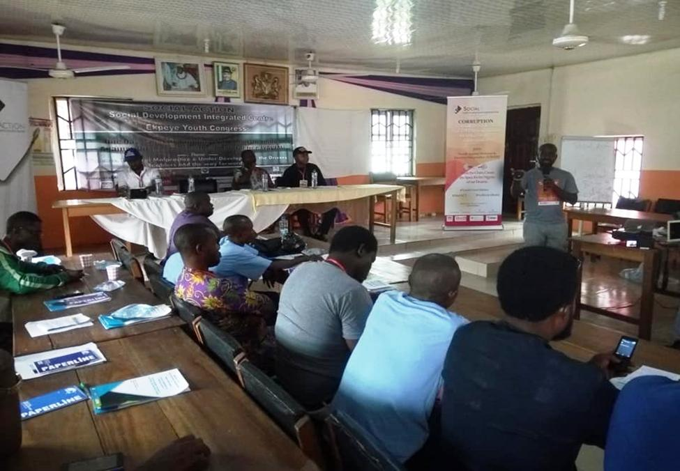 Prince Ekpere of Social Action addressing youths at the Ahoada workshop