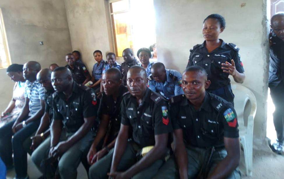 Police officers participating in the discussions