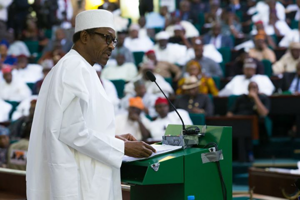 President Buhari making his budget speech. (Photo courtesy https://dailypost.ng)