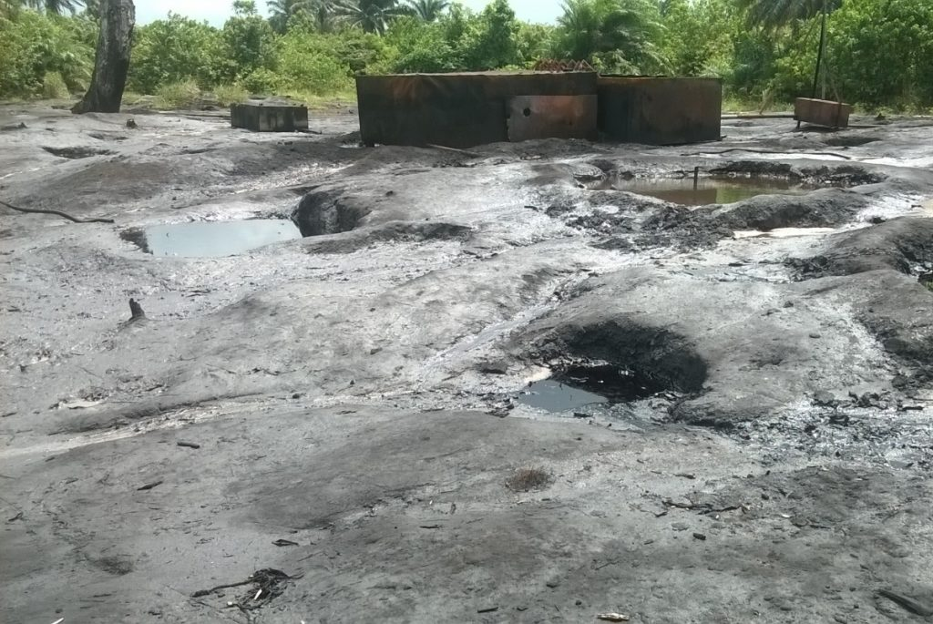 Scorched earth from artisanal crude oil refineries near Bodo